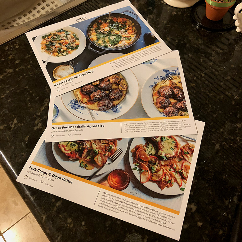 These are the recipe cards that come with the ingredients